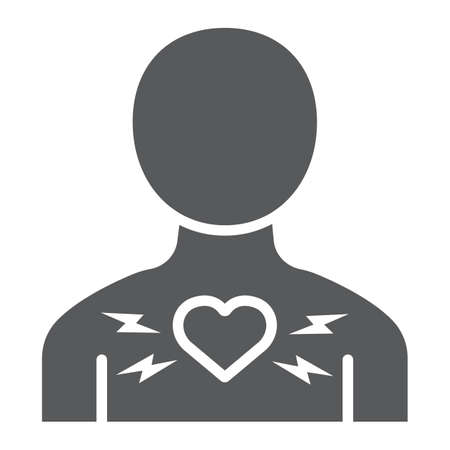 Heart ache glyph icon, body and pain, heart attack sign, vector graphics, a solid pattern on a white background.
