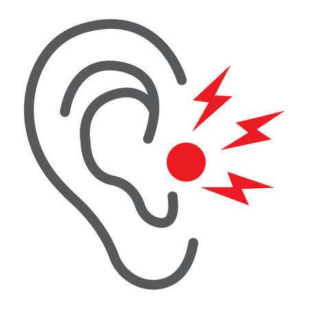 Ear pain line icon, body and painful, ear ache sign, vector graphics, a linear pattern on a white background.