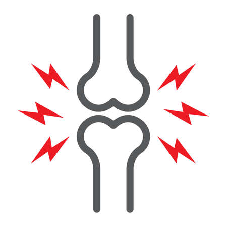 Bone pain line icon, body and painful, joint ache sign, vector graphics, a linear pattern on a white background.