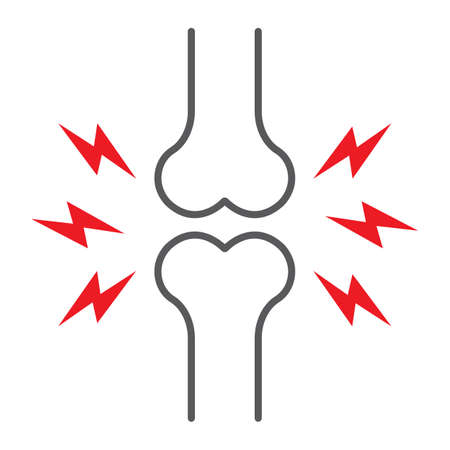 Bone pain thin line icon, body and painful, joint ache sign, vector graphics, a linear pattern on a white background.