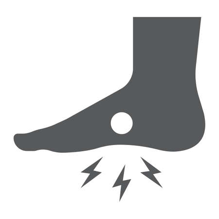 Foot pain glyph icon, body and painful, feet ache sign, vector graphics, a solid pattern on a white background.