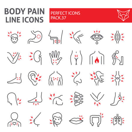 Body pain line icon set, organs ache symbols collection, vector sketches, illustrations, sickness signs linear pictograms package isolated on white background.  イラスト・ベクター素材