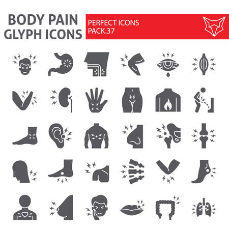 Body pain glyph icon set, organs ache symbols collection, vector sketches, illustrations, sickness signs solid pictograms package isolated on white background.