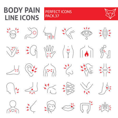 Body pain thin line icon set, organs ache symbols collection, vector sketches, illustrations, sickness signs linear pictograms package isolated on white background.