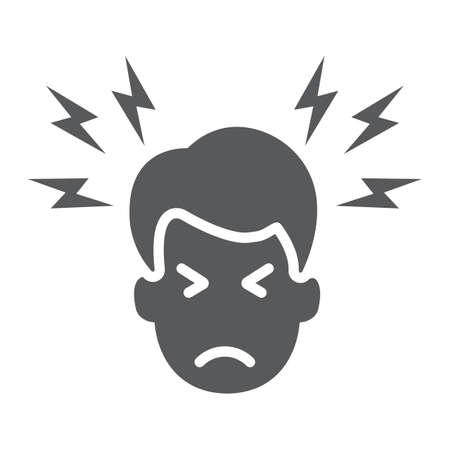 Icône de glyphe de mal de tête, corps et douleur, signe de douleur à la tête, graphiques vectoriels, un motif solide sur fond blanc.