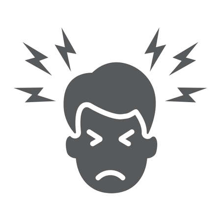 Ikona glifu ból głowy, ciało i ból, znak bólu głowy, grafika wektorowa, jednolity wzór na białym tle.