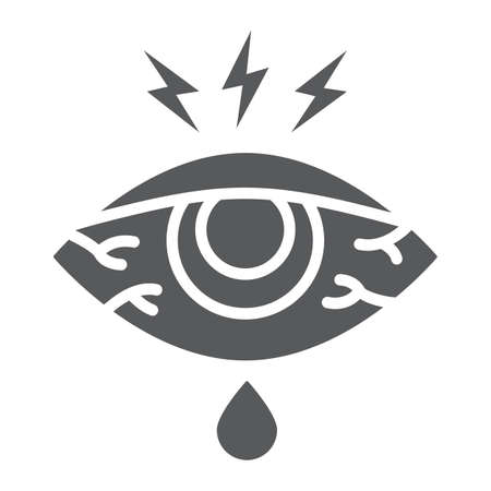 Eye sore glyph icon, body and injure, eye redness sign, vector graphics, a solid pattern on a white background.