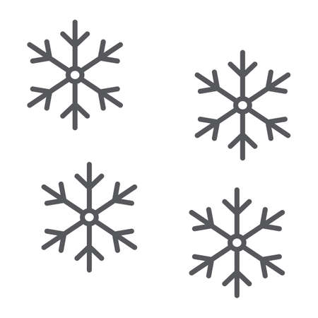 Snowflake thin line icon, winter and forecast, snow sign, vector graphics, a linear pattern on a white background. Ilustrace
