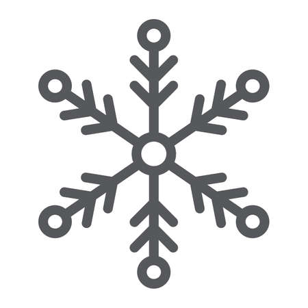 Snowflake line icon, weather and climate, snow sign, vector graphics, a linear pattern on a white background.