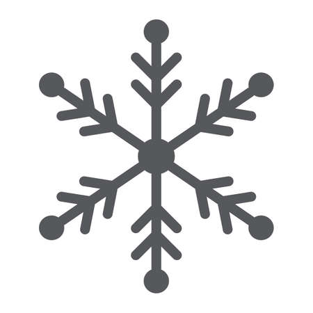 Snowflake glyph icon, weather and climate, snow sign, vector graphics, a solid pattern on a white background. Ilustrace