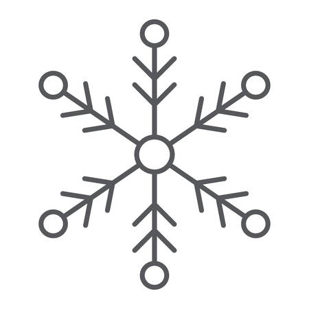 Snowflake thin line icon, weather and climate, snow sign, vector graphics, a linear pattern on a white background.