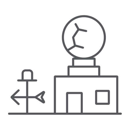Weather station thin line icon, anemometer and forecast, meteorogical station sign, vector graphics, a linear pattern on a white background.