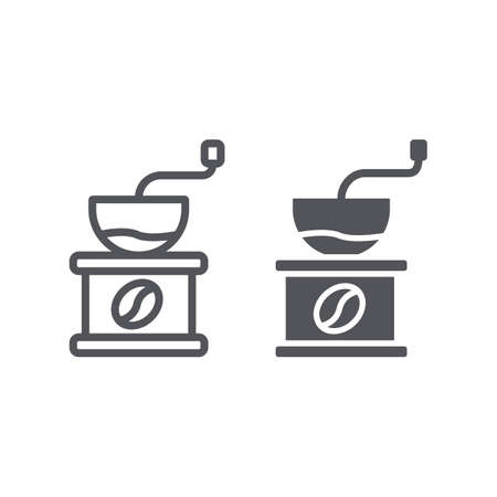 Coffee grinder line and glyph icon, drink and equipment, coffe milling sign, vector graphics, a linear pattern on a white background. Ilustração