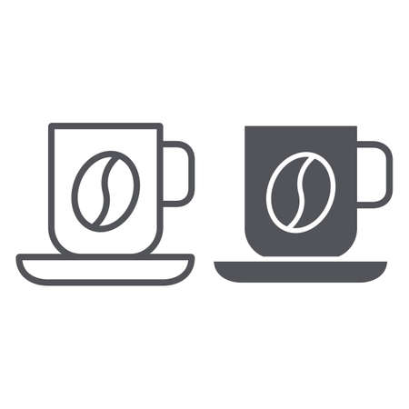 Coffee mug line and glyph icon, food and drink, cup sign, vector graphics, a linear pattern on a white background.