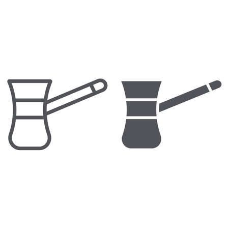 Cezve for coffe line and glyph icon, food and drink, old coffee maker sign, vector graphics, a linear pattern on a white background. Illustration