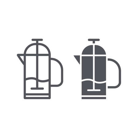 French press line and glyph icon, kitchen and drink, pot sign, vector graphics, a linear pattern on a white background.