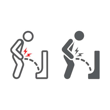 Urine pain line and glyph icon, body and painful, bladder ache sign, vector graphics, a linear pattern on a white background. Illustration
