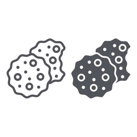 Cookies line and glyph icon, sweet and food, biscuit sign, vector graphics, a linear pattern on a white background.