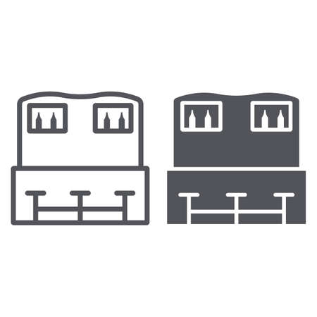 Bar counter line and glyph icon, drink and pub, pub table sign, vector graphics, a linear pattern on a white background.