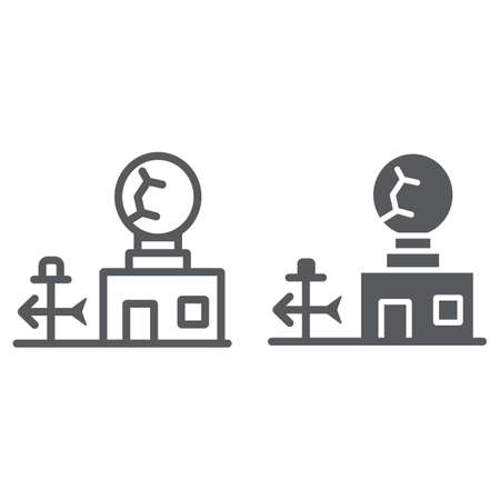 Weather station line and glyph icon, anemometer and forecast, meteorogical station sign, vector graphics, a linear pattern on a white background.