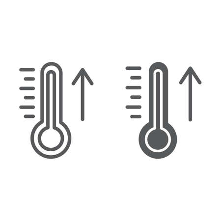 Raising the temperature line and glyph icon, weather and climate, thermometer sign, vector graphics, a linear pattern on a white background.