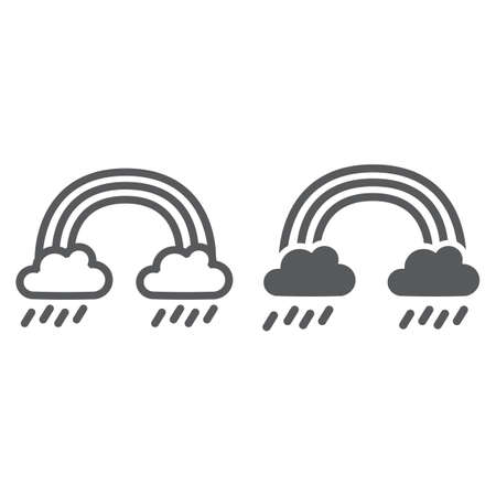 Rainbow and rain line and glyph icon, weather and nature, rainy sign, vector graphics, a linear pattern on a white background.