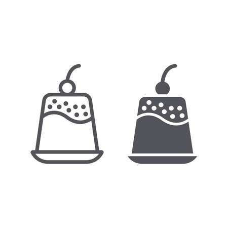 Pudding line and glyph icon, sweet and food, dessert sign, vector graphics, a linear pattern on a white background.