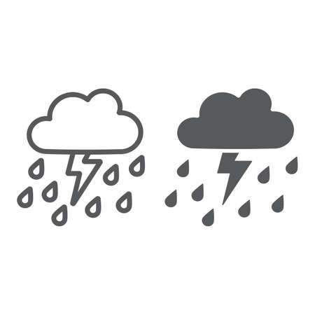 Thunderstorm with rain line and glyph icon, weather and forecast, thunder sign, vector graphics, a linear pattern on a white background. Banco de Imagens - 124927168