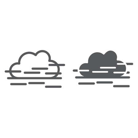 Fog line and glyph icon, weather and forecast, humidity sign, vector graphics, a linear pattern on a white background. Stock Illustratie