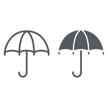 Umbrella line and glyph icon, weather and protection, parasol sign, vector graphics, a linear pattern on a white background.