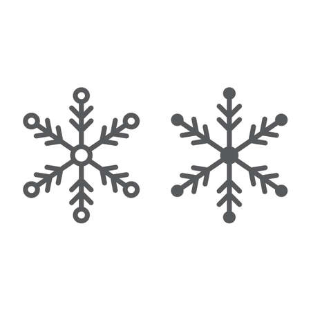 Snowflake line and glyph icon, weather and climate, snow sign, vector graphics, a linear pattern on a white background.