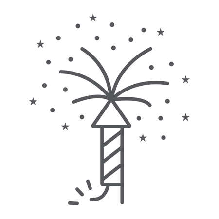 Firework thin line icon, party and festival, firecracker sign, vector graphics, a linear pattern on a white background. 向量圖像