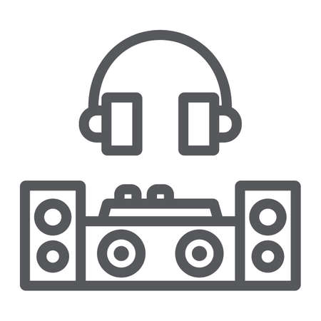 Dj line icon, party and music, dj mixer sign, vector graphics, a linear pattern on a white background. Illustration
