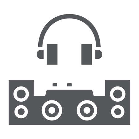 Dj glyph icon, party and music, dj mixer sign, vector graphics, a solid pattern on a white background. Illustration