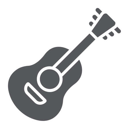 Guitar glyph icon, sound and music, musical instrument sign, vector graphics, a solid pattern on a white background.
