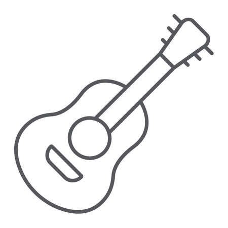 Guitar thin line icon, sound and music, musical instrument sign, vector graphics, a linear pattern on a white background.