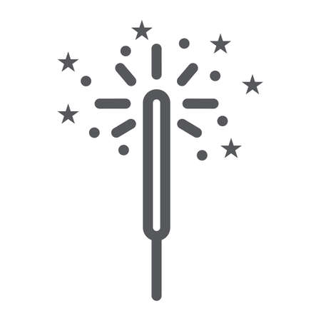 Sparkler line icon, celebration and party, bengal light sign, vector graphics, a linear pattern on a white background.