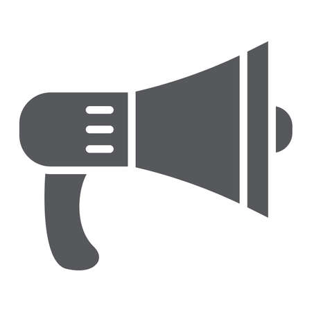 Speaker glyph icon, loud and announcement, megaphone sign, vector graphics, a solid pattern on a white background.