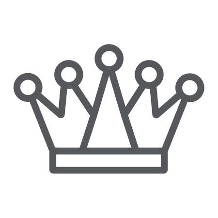 Crown line icon, royalty and leader, royal sign, vector graphics, a linear pattern on a white background.