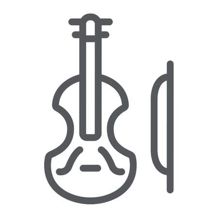 Violin line icon, music and instrument, cello sign, vector graphics, a linear pattern on a white background.