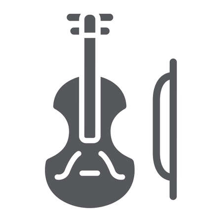 Violin glyph icon, music and instrument, cello sign, vector graphics, a solid pattern on a white background. Stock Vector - 124927522