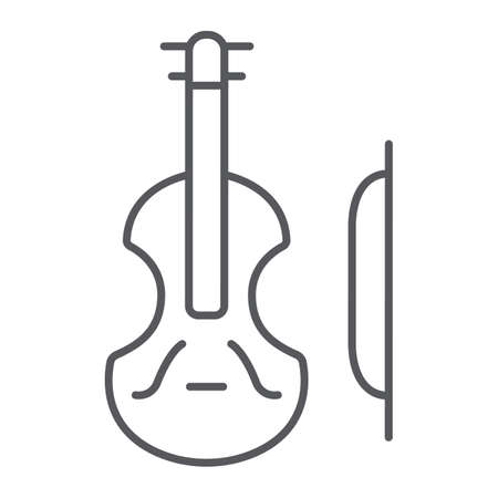 Violin thin line icon, music and instrument, cello sign, vector graphics, a linear pattern on a white background. Stock Vector - 124927526