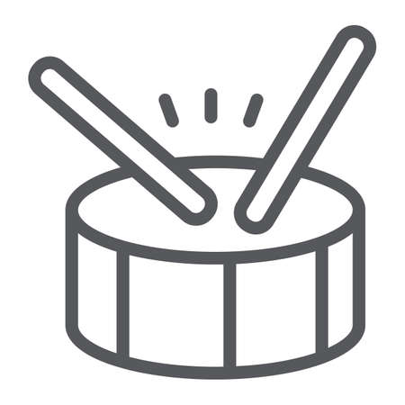 Drum line icon, music and beat, percussion instrument sign, vector graphics, a linear pattern on a white background.