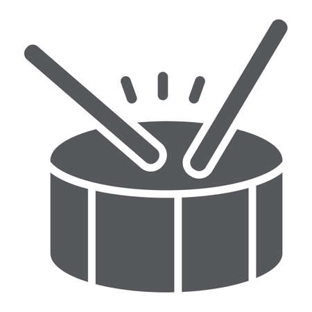 Drum glyph icon, music and beat, percussion instrument sign, vector graphics, a solid pattern on a white background. Imagens - 124927546