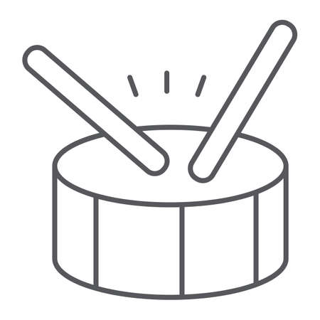 Drum thin line icon, music and beat, percussion instrument sign, vector graphics, a linear pattern on a white background.