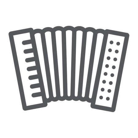 Accordion line icon, music and keyboard, national instrument sign, vector graphics, a linear pattern on a white background.