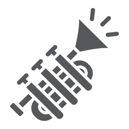 Tuba glyph icon, music and instrument, trumpet sign, vector graphics, a solid pattern on a white background. Ilustração