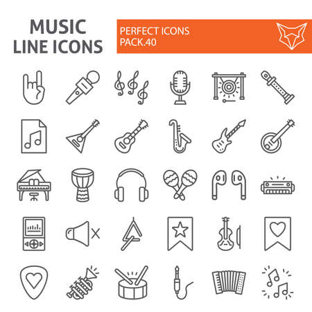 Music line icon set, musical instruments symbols collection, vector sketches, illustrations, audio equipment signs linear pictograms package isolated on white background.
