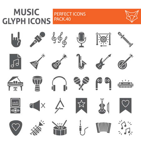 Music glyph icon set, musical instruments symbols collection, vector sketches, illustrations, audio equipment signs solid pictograms package isolated on white background. Ilustração
