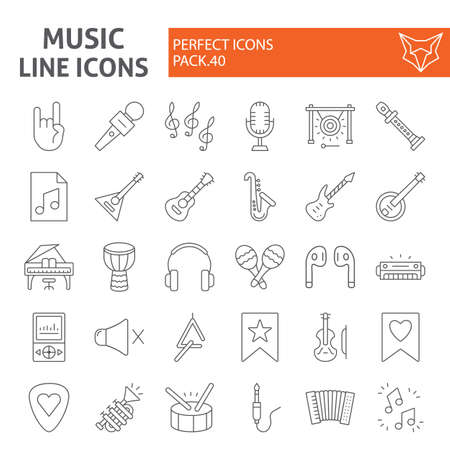 Music thin line icon set, musical instruments symbols collection, vector sketches, logo illustrations, audio equipment signs linear pictograms package isolated on white background. Ilustrace